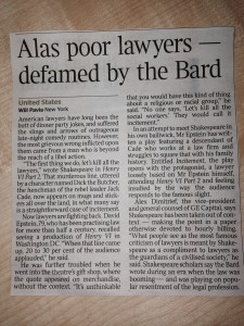 Alas poor lawyers - defamed by the Bard